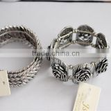 White gold plated metal bangle bracelet, double leaf plated bracelet wholesale