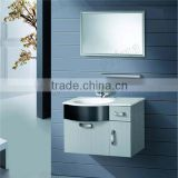 Modern Hanging Natural Marble Countertop Bathroom Cabinet High Quality Bathroom Cabinet, Glass Wash Basin, PVC Bathroom Vanity
