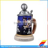 Collectible baseball design ceramic custom beer steins with lids