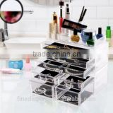 Acrylic Makeup Organizer Jewelry Display Boxes Bathroom Storage Case 3 Pieces Set 7 Drawers(MK-B-0179)