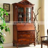 Classic Reproduction Solid Wood Regence Library Bookcase with Writing Table Desk Bureau BF11-05183a