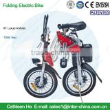 16inch Luxury A Model(Red); Lithium battery E-Bike; with disk brake, 8fun brushless motor