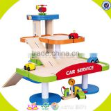 Wholesale fashionable children wooden parking lot toy funny wooden parking lot toy role play wooden parking lot toy W04B021