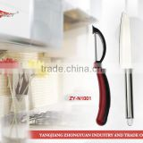 ZY-N1001 easy grip, serrated-blade vegetable peeler and stainless steel paring knife set