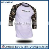 2016 OEM factory wholesale man 3/4 sleeve baseball t shirt baseball raglan jersey