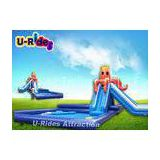 Blue and Orange Giant Inflatable Water Parks Octopus Shape With Two Slides