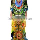 Latest New Digital Print Long Kaftans Colourful Long Digitally printed evening beach kaftan for woman visocse chiffon long dress