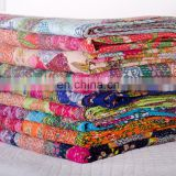 Tropical Kantha Quilt Fruit Print Kantha Bedcover Reversilble Bedspread Wholesale from India