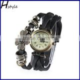 Women's Vintage Floral Wrap Around Weave Leather Bracelet Wrist Watch Wristband Black WP007