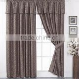 Hot Selling Western Style 2 pcs 100%Polyester Yarn Dyed Jacquard Window Curtain With Attached Valance With 2 Tie Backs