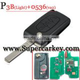 High Quality 3 Button Remote key(ASK) For Peugeot Flip key 0536 VA2 blade with Light button