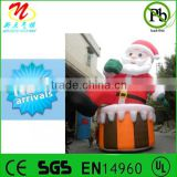 Holiday season airblown inflatable Santa Claus with 1 foot in tub, christmas inflatables