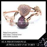 2015 wholesale cheap 18k gold plating bangles fashion jewelry sweet heart rose gold plated bangle
