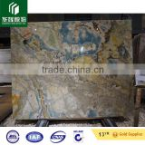 Blue cloud with golden river pattern marble stone good design