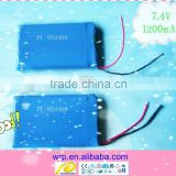 7.4V1200mAh lithium battery pack for camera, projector, interphone, electric gift products etc.