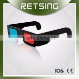 red cyan 3d paper passive glasses with black paper frame