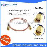 China supplier 50cm Cable SMA Male To SMA Male With Nut Bulkhead RF Coax Pigtail Cable RG316 Connector Adapter