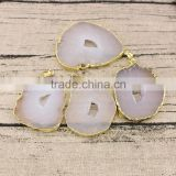 JF6937 Wholesale white druse geode agate slice pendants,gold plated gemstone slab druzy pendants