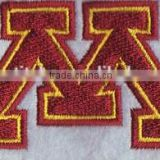New big letter M design customized jersey embroidery patches,appliques iron on varsity letter jackets