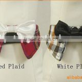 Fabric Dog Collar with Bow Tie Plaid Style