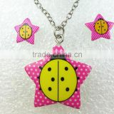 manufacturers lovely peach coccinella septempunctata design kids necklace indian locket jewelry set