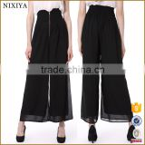 2016 Chiffon High Waist Unique Custom Black Pants For Girls