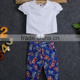 HOT 2016 New 2Pcs Baby Girls Lace T-Shirt Tops And Flower Pants Outfits Clothes