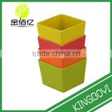 2015 hot sell mini square decorative table plastic bamboo flower pots wholesale