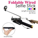 Telefon accessories handheld colorful cable monopod selfie stick with remote shutter OEM wired selfie stick logo