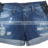 Adults fashion women denim shorts girls sequin jeans shorts for girls Chirldren manufacturer in China