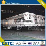 china manufacturer best selling 3 axles flatbed semi trailer with concave beam andsteering wheel manifacturer for sale