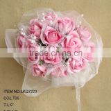bridal artificial flowers beaded bouquets with glitters covered for wedding decorations