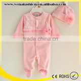 long sleeve flower soft cotton hooded baby clothes romper                                                                         Quality Choice