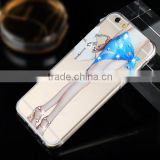 Bling Diamond Bridal Veil Girl Clear Crystals Hard Back TPU mobile Phone Case For Apple iPhone 5 5S