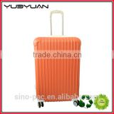 2015 Best selling unique trendy orange ladies airport trolley suitcase ABS PC carry on luggage