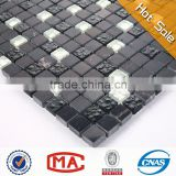 nero marquina marble hot sale glass mosaic tile stone mix frosted crystal glass mosaic stone mosaic tile with mesh back