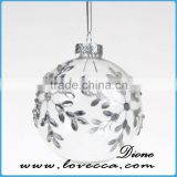 Shine-beautiful Xmas ball transparent clear Hand-painted shiny decoration christmas glass balls