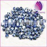 2015 whole sale artificial for DIY jewelry making Bead porcelain whiteand blue 6X14mm round 50pcs per bag