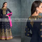 Adorning Navy Blue Patch Border Work Anarkali Salwar Kameez/Buy designer salwar kameez online