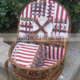 4 persons Folk Art Style and Basket Product Type willow hamper picnic basket with ice bag