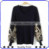 Winter wholesale clothing 2013 100%cotton high quality costom t shirt western style tops ladies fashion casual blouse and tops