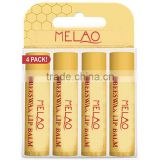 MELAO 100% Natural Moisturizing Lip Balm, Beeswax, 4 Tubes in Blister Box
