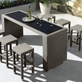 Garden furniture Bar table And Bar stooll Aluminum Frame PE Flat Rattan Weave 8mm Tempered Glass
