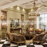 Vintage Living Room Leather Sofas, Exquisite Hand Painting Sectional Sofa Set, Classic Wood Carving Living Rroom Furniture Set