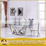 silver stainless steel leg glass dining table for wedding banquet
