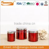 Wholesale kitchen 3 sets spice storage stainless steel metal canisters