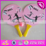 2015 Promotional Wooden Beach Racket Bat With Ball,Wooden beach paddle ball,Beach game toy wooden Beach racket with ball W01A101