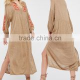 2017 Boho Hippie Clothing Spring Summer Embroidered Rayon Plunging Neckline Long Sleeve Maxi Dress HSD5947