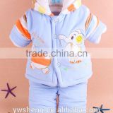 Winter newborn baby velvet warm cotton suit cartoon thickening baby Hooded cotton clothing outfit set