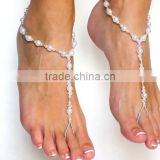 Indian style pearl chain anklet handmade pearl foot jewelry sun beach anklet with toe rings
